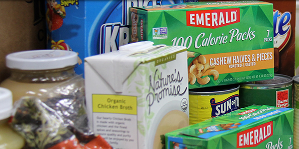 Nonperishable food items in SOME's pantry.